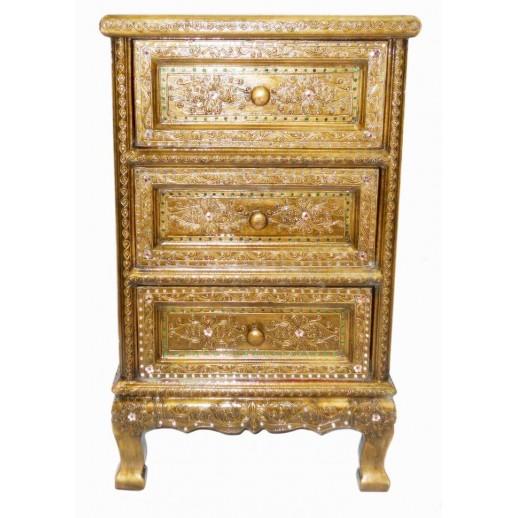 Тумбочка из дерева с 3мя ящиками светлая арт.1-1-1200 (бронза с белой инкрустацией ) ЭТНО