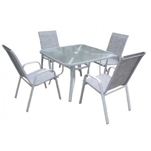 "Комплект обеденной мебели из металла и текстилена ""Парма"" (4+1)"