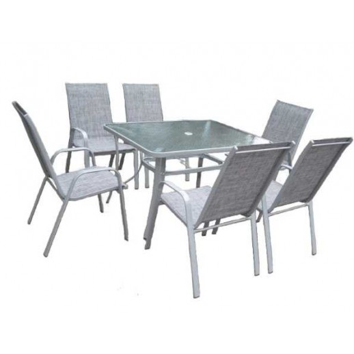"Комплект обеденной мебели из металла и текстилена ""Парма"" (6+1)"