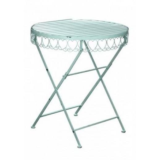 Стол из металла круглый складной (бирюза состаренная)