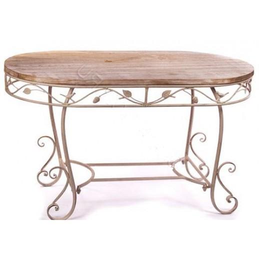 Стол кофейный с деревянной столешницей (бежевый состаренный)