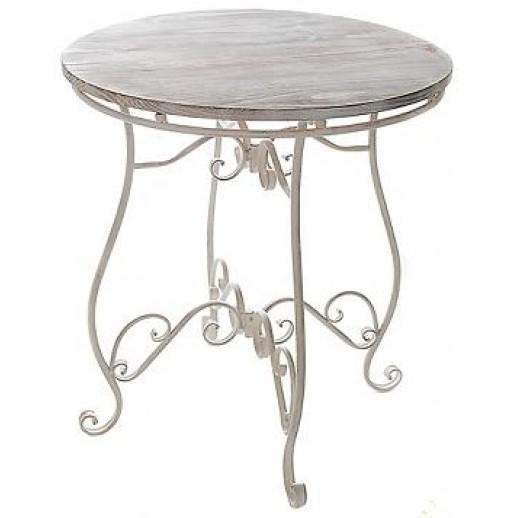 Стол круглый из металла и деревянной столешницей состаренный
