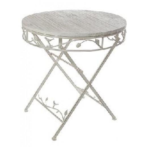 Стол с деревянной столешницей круглый складной (бежевый состаренный)(С)