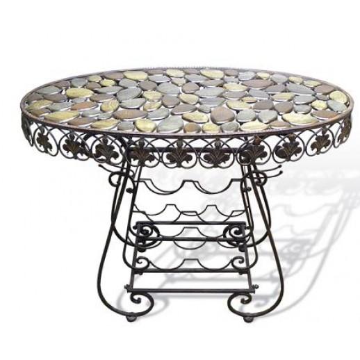 Столик из металла с полками для вина (темная состаренная медь)