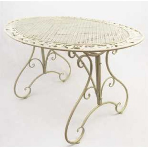Стол из металла овальный (молочн. с золотом)
