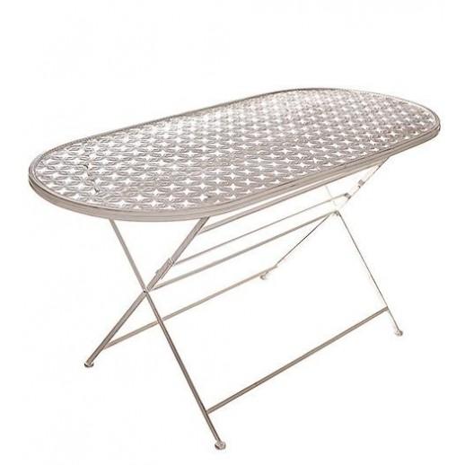 Стол из металла овальный складной (белый состаренный)