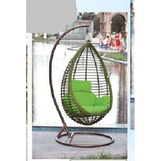 Кресло подвесное из искусственного ротанга МК 32 (зеленое)