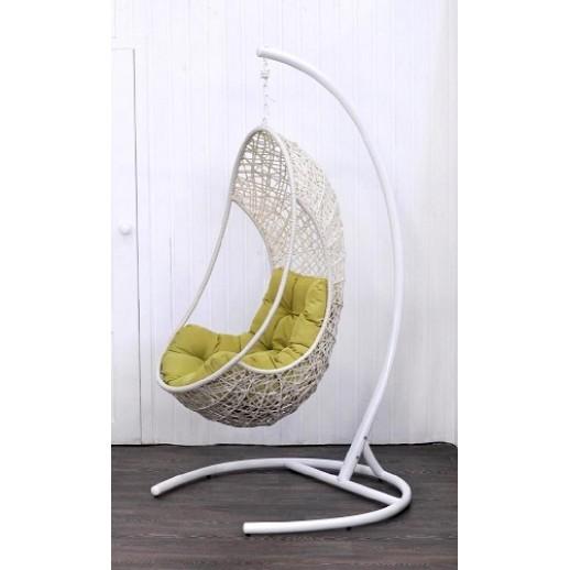 """Кресло подвесное из искусственного ротанга """"Lite""""(бежевое, белый каркас)"""