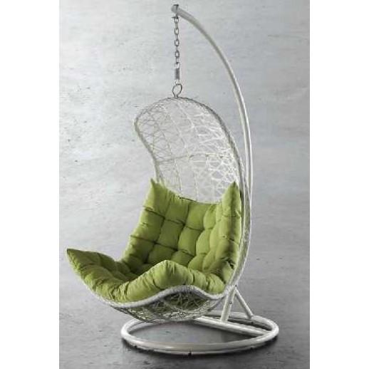 """Подвесное кресло из искусственного ротанга""""Виши""""(белые с подушкой)"""