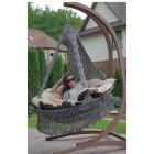 """Подвесное кресло """"Картахена"""" с деревянным каркасом(серебристо-черный)"""
