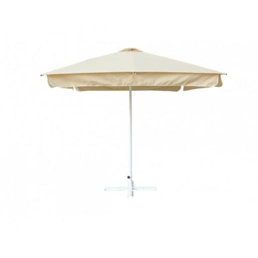 Зонт для кафе квадратный 2.5х2.5м. АЛМИТ с воланом(беж. с подставкой)