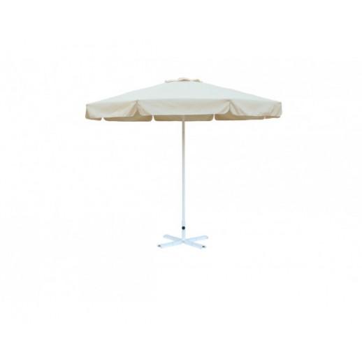 Зонт круглый диам.3.0м.АЛ с воланом(беж. с подставкой)