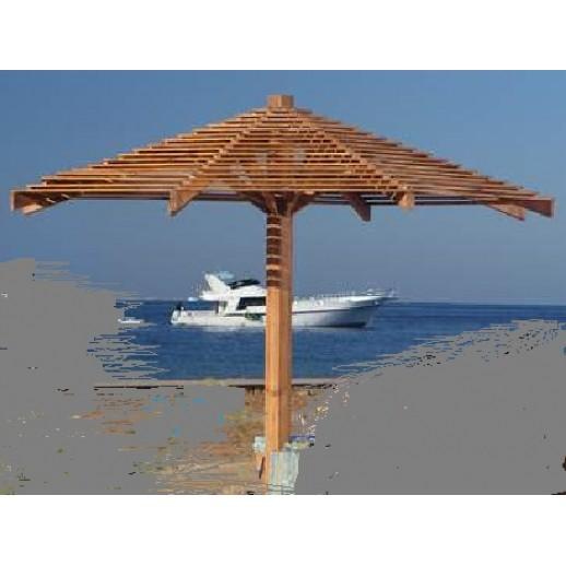 Зонт пляжный из дерева д.2.5м (сосна+лиственница)