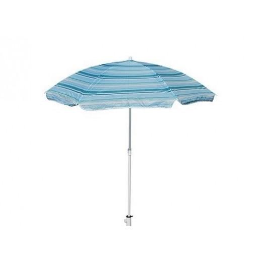 Зонт пляжный из нейлона круглый д.2.0м (голубая полоса)
