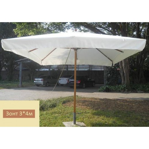Зонт для кафе 43 с центральной стойкой (3х4) светлобежевый (без подставки)