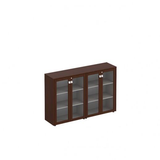 Шкаф для документов средний со стеклянными дверьми ( стенка из 2 шкафов) венге