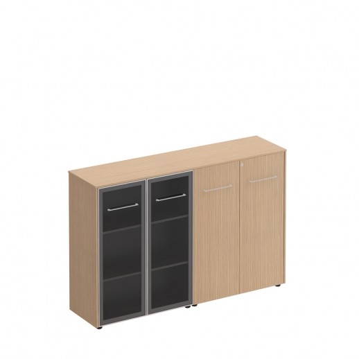 Шкаф комбинированный средний(стекло - закрытый) зебрано песочный