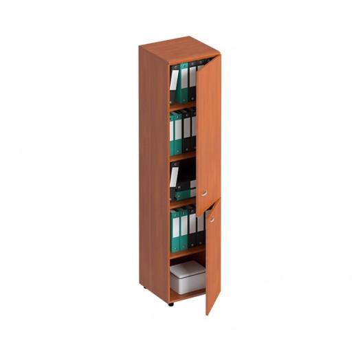 Шкаф для документов узкий закрытый 2-дверный испанский орех