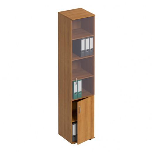 Шкаф для документов узкий со стеклом орех натуральный