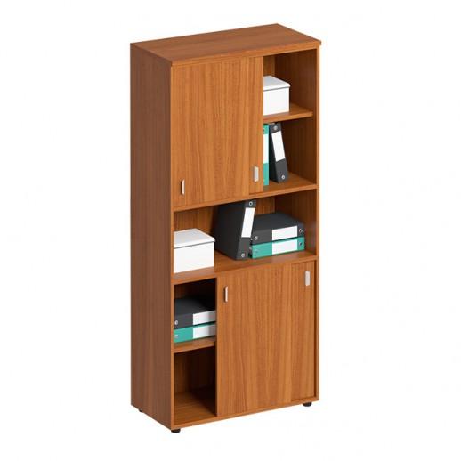 Шкаф-купе для документов высокий с нишей испанский орех