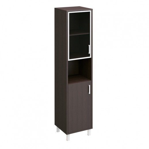 Шкаф для документов левый, двери стеклянная в алюминиевой раме + ДСП без замка + ниша венге