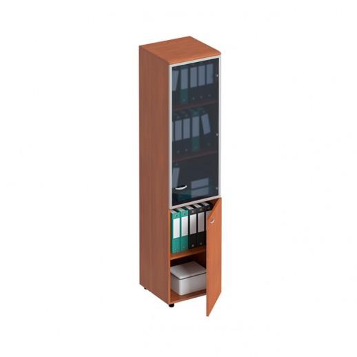 Шкаф для документов узкий со стеклянной дверью в рамке правый испанский орех