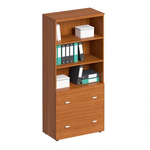 Шкаф для документов с ящиками высокий, с файлами подвесного хранения испанский орех
