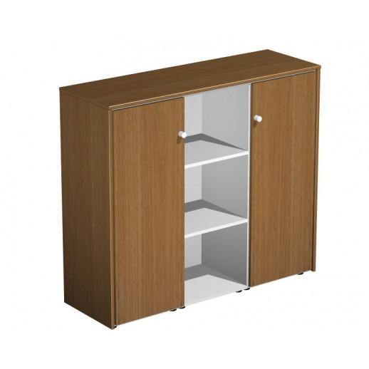 Шкаф комбинированный средний орех ногаро/белый премиум