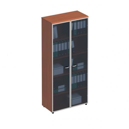 Шкаф для документов со стеклянными высокими дверьми в рамке испанский орех