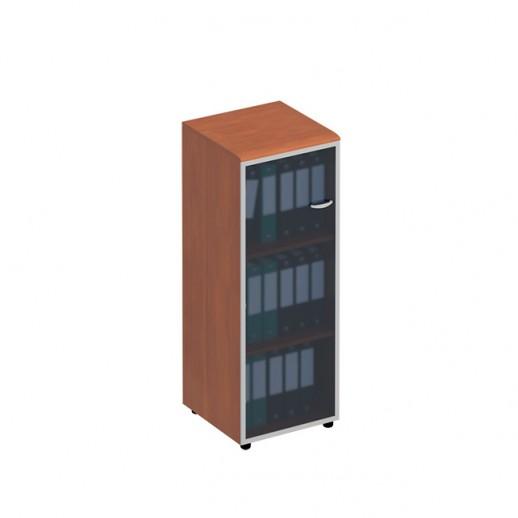 Шкаф для документов средний узкий со стеклянной дверью в рамке левый испанский орех