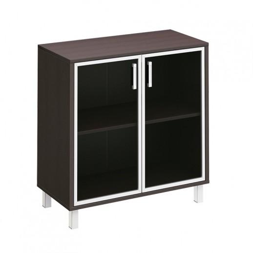 Шкаф низкий для документов две стеклянные двери венге