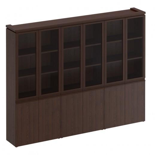 Шкаф для документов со стеклянными дверями дуб альпийский