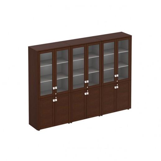 Шкаф для документов со стеклянными дверьми темный дуб