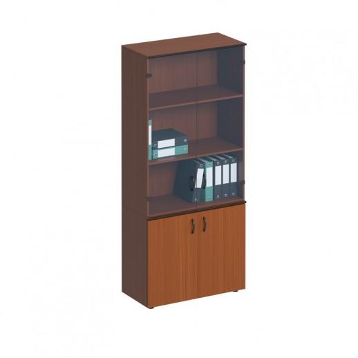 Шкаф для документов со стеклянными дверьми высокий австрийский орех