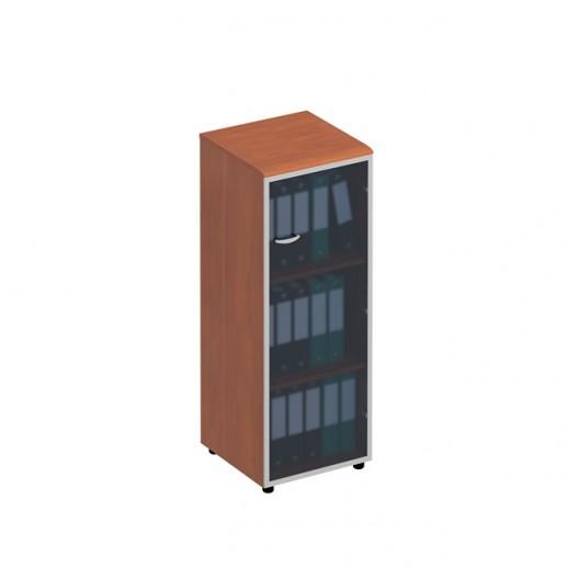 Шкаф для документов средний узкий со стеклянной дверью в рамке правый испанский орех