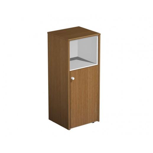 Шкаф для документов узкий полузакрытый орех ногаро/белый премиум
