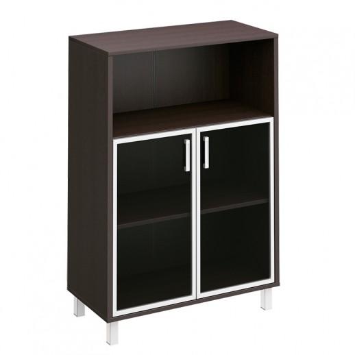 Шкаф для документов, двери стеклянные в алюминиевой раме + ниша венге