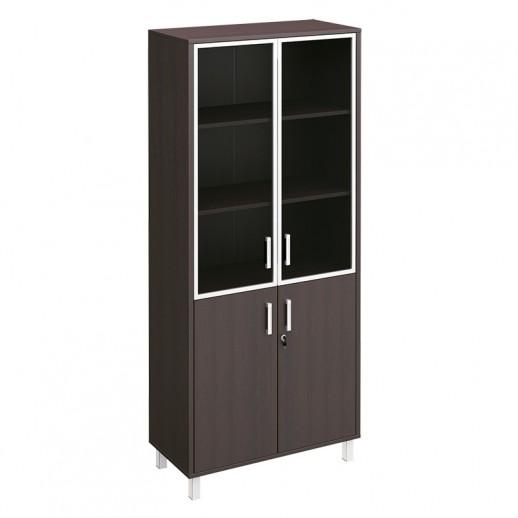 Шкаф для документов двери стеклянные в алюминиевой рамке + ДСП с замком венге