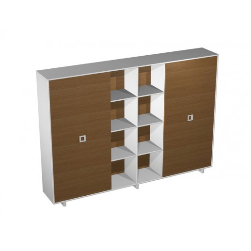 Шкаф-купе для документов высокий (3 секции) орех ногаро/ белый премиум