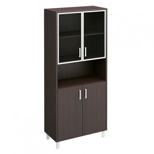 Шкаф для документов двери стеклянные в алюминиевой рамке + ДСП без замка + ниша венге