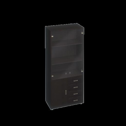 Шкаф для документов, кожаные фасады ящиков/тонированные двери венге