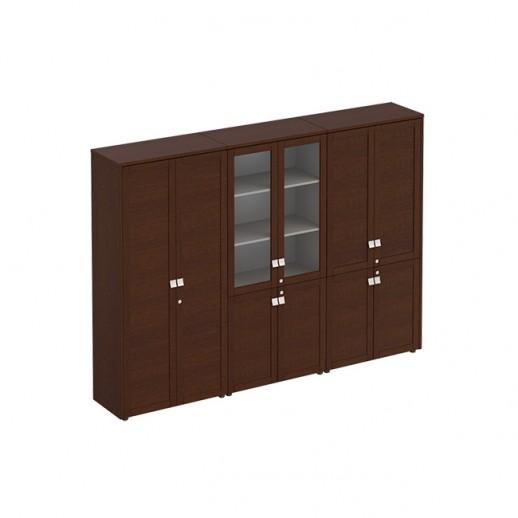 Шкаф комбинированный (одежда- стекло- документы) темный дуб