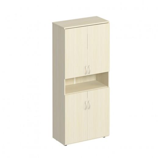 Шкаф для документов закрытый 4-дверный с нишей дуб шамони