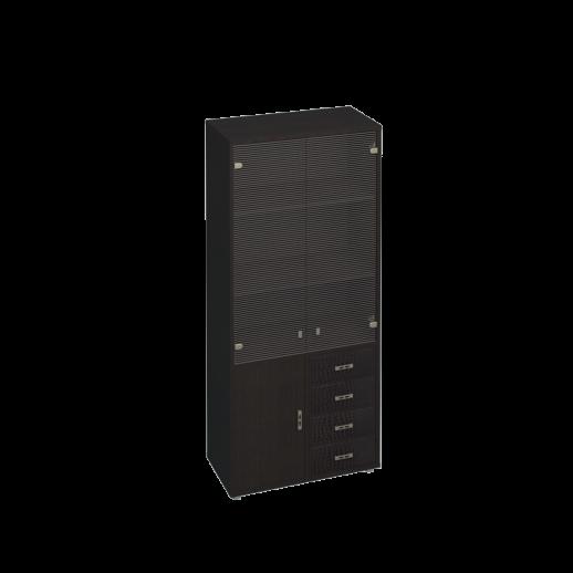 Шкаф для документов, кожаные фасады ящиков/пескоструйные двери венге