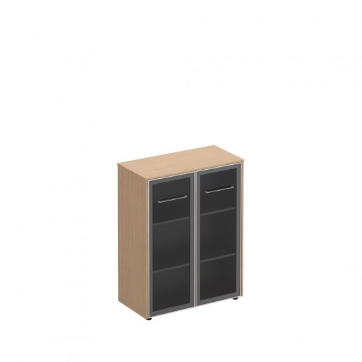 Шкаф для документов средний со стеклянными дверьми зебрано песочный