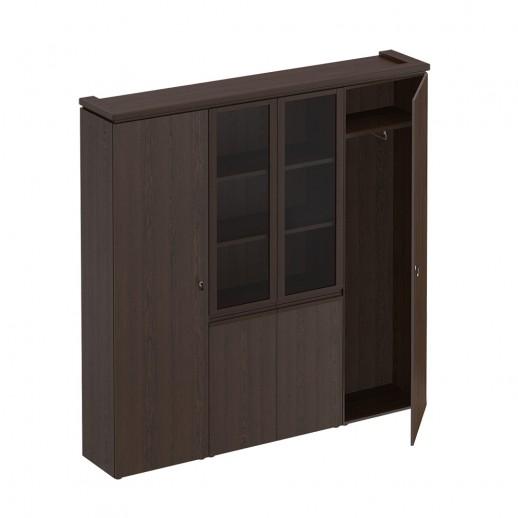Шкаф комбинированный (для документов узкий + со стеклом + для одежды узкий) дуб альпийский