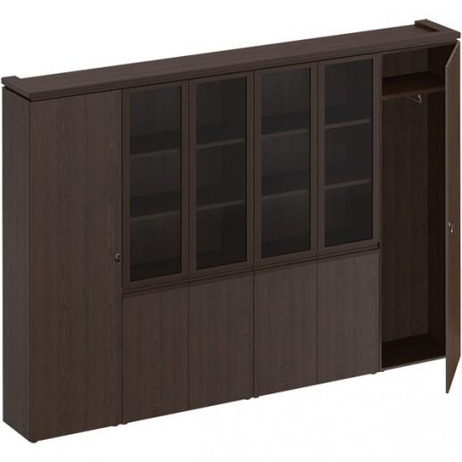 Шкаф комбинированный (для документов узкий + со стеклом 2 шт. + для одежды узкий) дуб альпийский