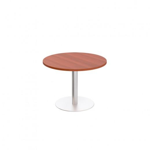 Стол для переговоров круглый на опоре-колонне миланский орех