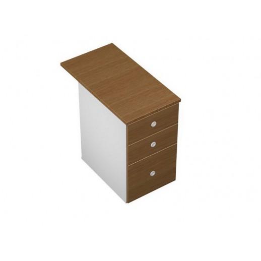 Тумба приставная 3-ящичная М (один файловый ящик) с крышкой и замком орех ногаро/белый премиум